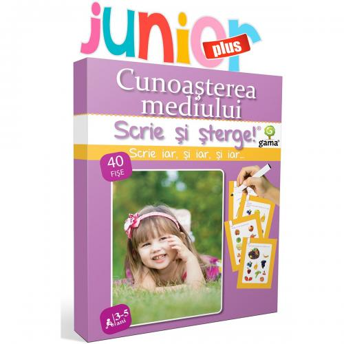 Editura Gama - Scrie si sterge Junior Plus - Cunoasterea mediului 3-5 ani - Carti pentru copii -