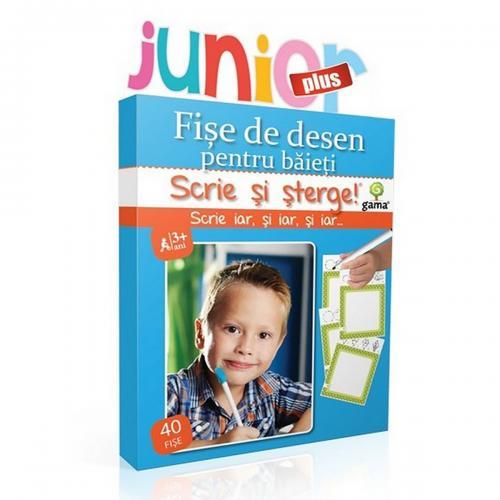 Editura Gama - Scrie si sterge Junior Plus - Desen - Fise pentru baieti - Carti pentru copii -