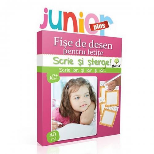 Editura Gama - Scrie si sterge Junior Plus - Desen - Fise pentru fetite - Carti pentru copii -