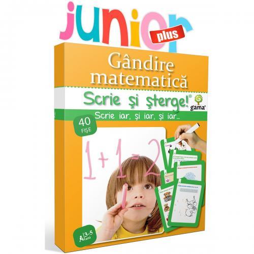 Editura Gama - Scrie si sterge Junior Plus - Gandire matematica 3-5 ani - Carti pentru copii -
