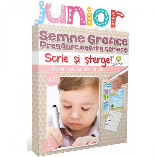Editura Gama - Scrie si sterge Junior - Semne grafice - Pregatire pentru scriere - Carti pentru copii -