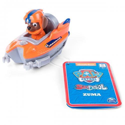 Figurina cu vehicul de salvare tip barca Paw Patrol - Zuma - Figurine pentru copii -