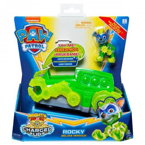 Figurina cu vehicul Paw Patrol Deluxe Vehicle Mighty Pups - Rocky 20121276 - Figurine pentru copii -