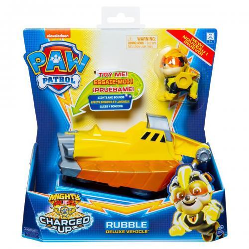 Figurina cu vehicul Paw Patrol Deluxe Vehicle Mighty Pups - Rubble 20121274 - Figurine pentru copii -