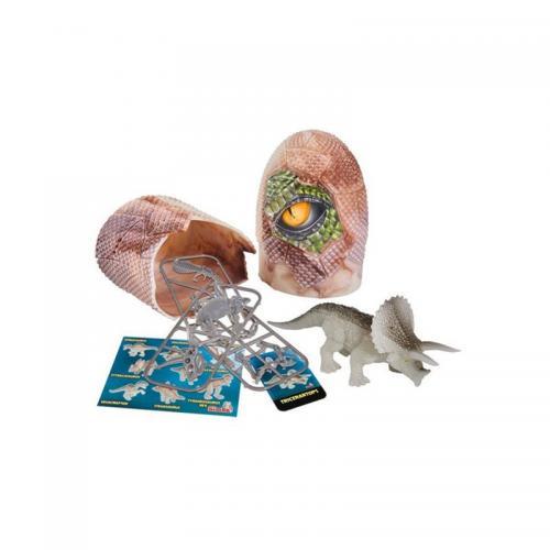 Figurina dinozaur fluorescent in ou Simba - Triceratops - 10 cm - Figurine pentru copii -