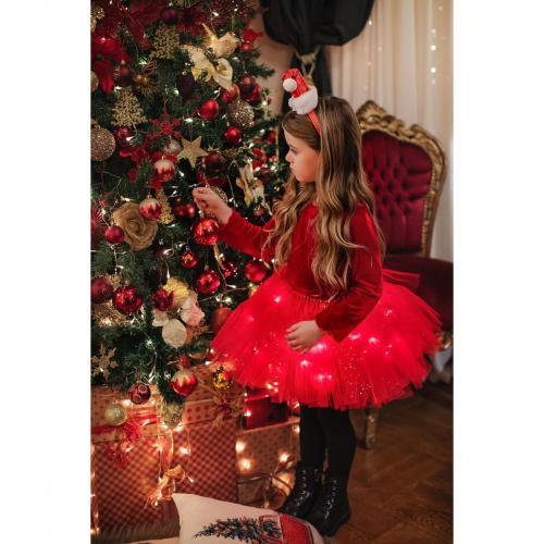 Fustita cu luminite Bucuria Craciunului - Rosu - Imbracaminte copii - Fuste fetite