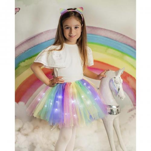 Fustita cu luminite Curcubeu - Imbracaminte copii - Fuste fetite