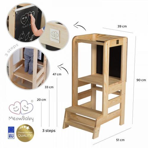 Inaltator multifunctional ajutor de bucatarie cu tabla de scris MeowBaby lemn natural - Booster copii -