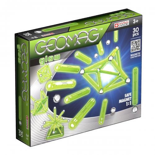 Joc de constructie magnetic Geomag Glow - 30 piese - Jucarii de constructie -