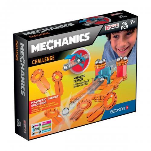 Joc de constructie magnetic Geomag Mechanics Challenge - 95 piese - Jucarii de constructie -