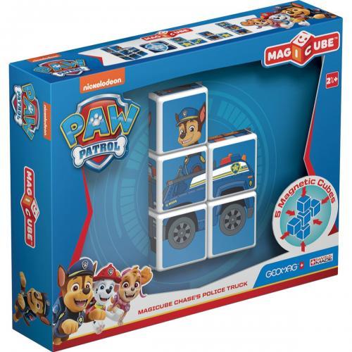 Joc de constructie magnetic Magic Cube - Paw Patrol - Chasess Police Truck - Jucarii de constructie -
