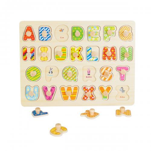 Jucarie bebelusi Noriel Bebe Wood - Puzzle cu litere - Jucarii pentru bebelusi -