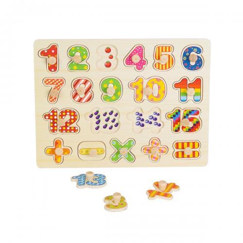 Jucarie bebelusi Noriel Bebe Wood - Puzzle cu numere - Jucarii pentru bebelusi -