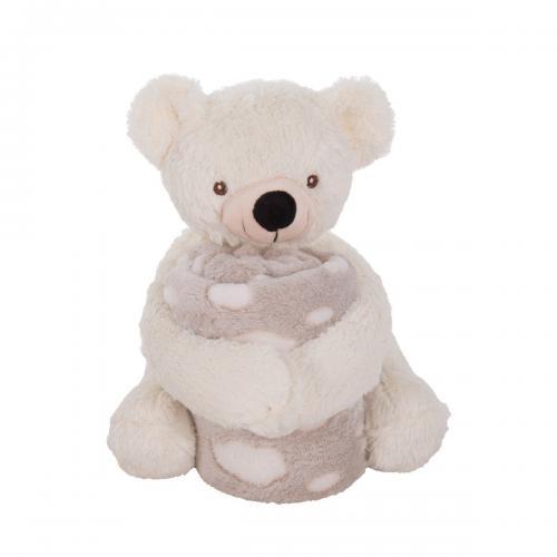 Jucarie de plus cu paturica Kikka Boo - Ursulet - Jucarii pentru bebelusi -