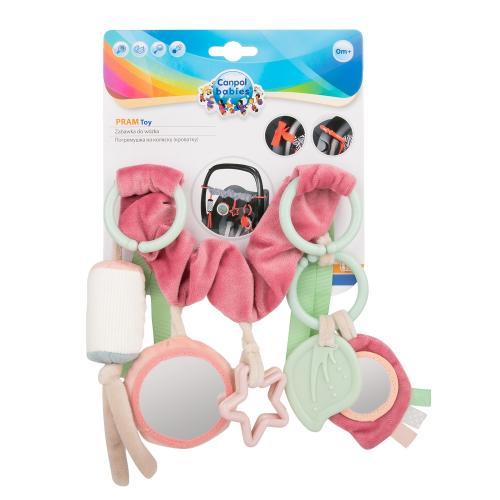 Jucarie pentru carucior din plus Pastel Friends 0 luni + roz - La plimbare - Accesorii carucioare
