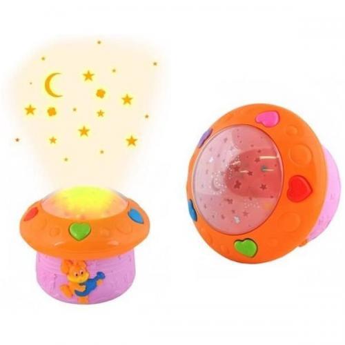 Lampa de veghe cu proiector cu senzor voce si 12 melodii incluse Iso Trade roz - Camera copilului - Carusele muzicale