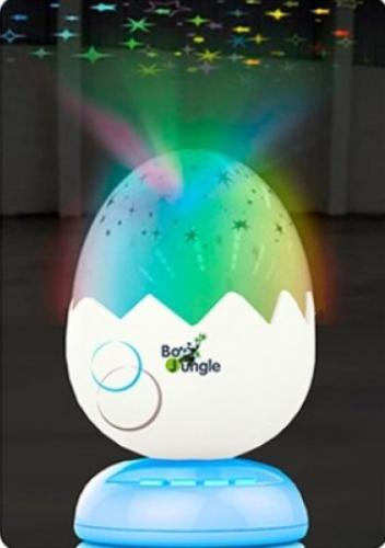 Lampa de veghe si proiector pentru copii si bebelusi BO Jungle forma Ou cu stelute - Camera copilului - Carusele muzicale