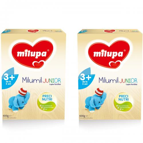 Lapte praf Milupa Milumil Junior 3+ - 2 pachete x 600 g - Alimentatia bebelusului - Lapte praf bebelusi
