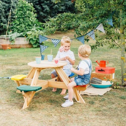 Masa de joaca din lemn cu scaune colorate pentru 4 copii Plum - Jucarii de exterior - Spatiu de joaca