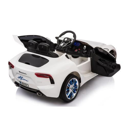Masinuta electrica cu roti din cauciuc Maserati alb - Masinute electrice -