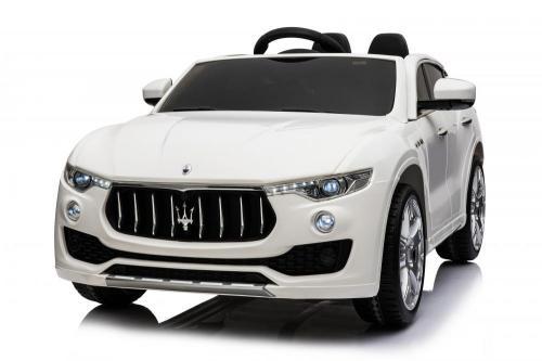 Masinuta electrica Maserati Levante cu scaun de piele si roti de cauciuc White - Masinute electrice -