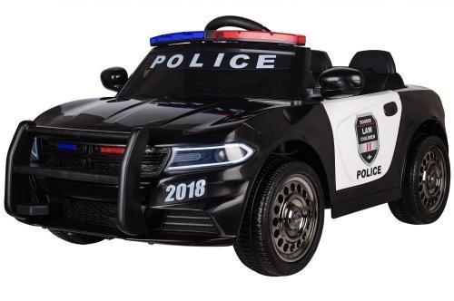 Masinuta electrica Police Patrol cu scaun de piele si roti din cauciuc Black - Masinute electrice -