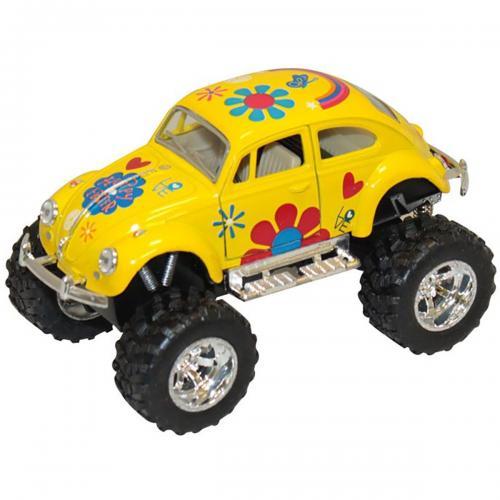 Masinuta metalica de off-road Kinsmart - Volkswagen Beetle - Galben - Masinute copii -
