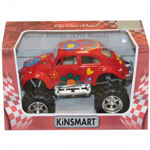 Masinuta metalica de off-road Kinsmart - Volkswagen Beetle - Rosu - Masinute copii -