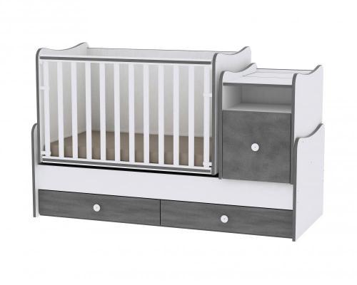 Mobilier transformabil Trend Plus White Vintage Grey - Patuturi copii - Patut din lemn