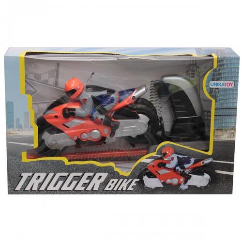 Motocicleta cu figurina si lansator Unika Toy - Portocaliu - Masinute copii -