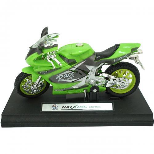 Motocicleta cu lumini si sunete Unika Toy - Verde - 13 cm - Masinute electrice -