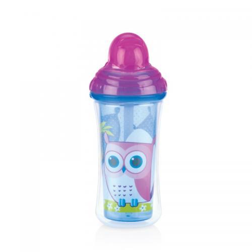 Nuby Pahar cu pai izoterm Vari-Floflip-it Click Lock 270 ml - Albastru - Alimentatia bebelusului - Cani bebe si accesorii
