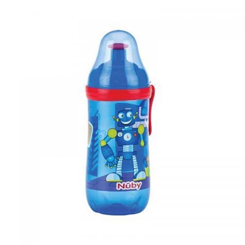 Pahar pop-up cu clama Nuby - 360 ml - Albastru - Alimentatia bebelusului - Cani bebe si accesorii