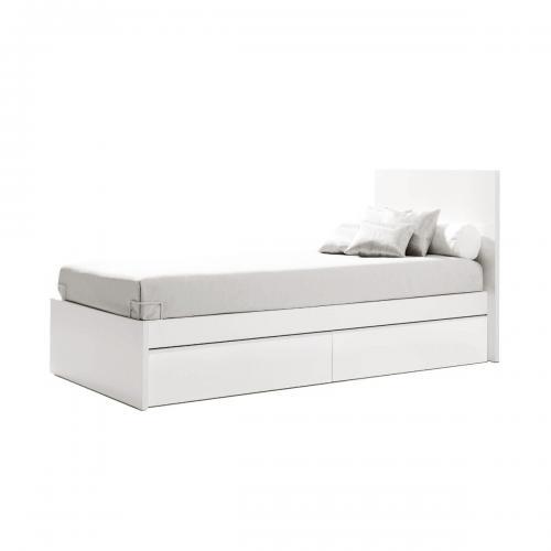 Pat cu sertar pentru depozitare Home Concept - Alb - Patuturi copii -