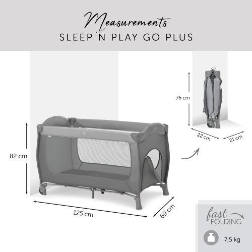 Pat pliabil Hauck Sleepn Play Go Plus Grey - Patuturi copii - Patut pliabil