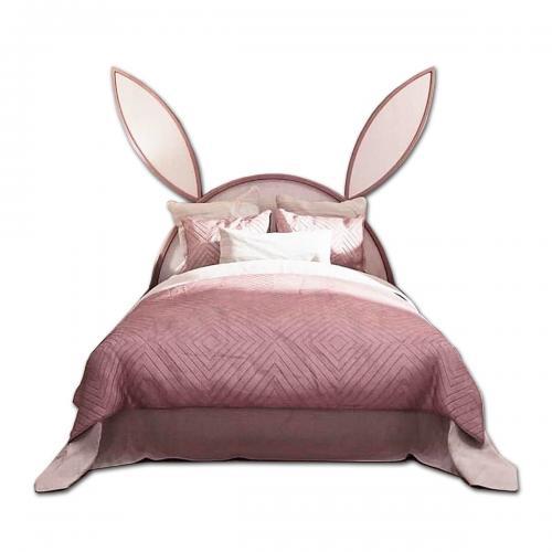 Pat tapitat Home Concept - Iepuras - Roz inchis - Patuturi copii -