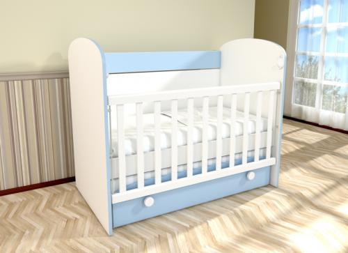 Patut cu leganare Diana 1 alb-albastru 021PE - Patuturi copii - Patut din lemn