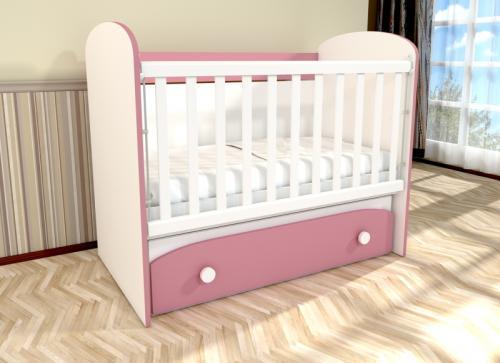 Patut cu leganare Diana 1 alb-roz D120 - Patuturi copii - Patut din lemn
