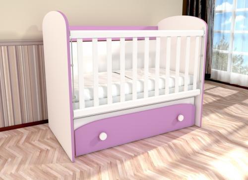 Patut cu leganare Diana 1 alb-violet D121 - Patuturi copii - Patut din lemn