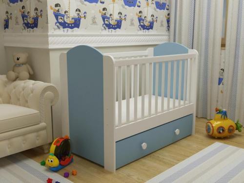 Patut cu sertar Happy cu leganare alb-albastru 0121PE - Patuturi copii - Patut din lemn