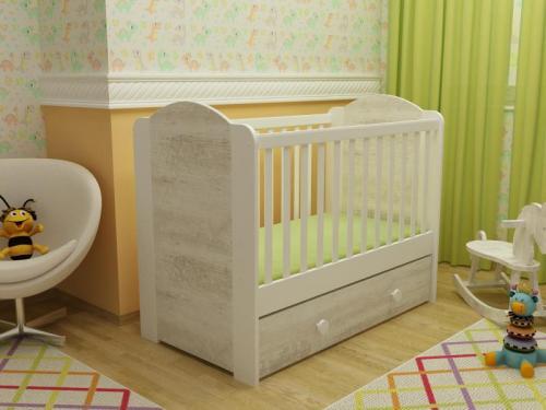 Patut cu sertar Happy cu leganare alb-antik A428 - Patuturi copii - Patut din lemn
