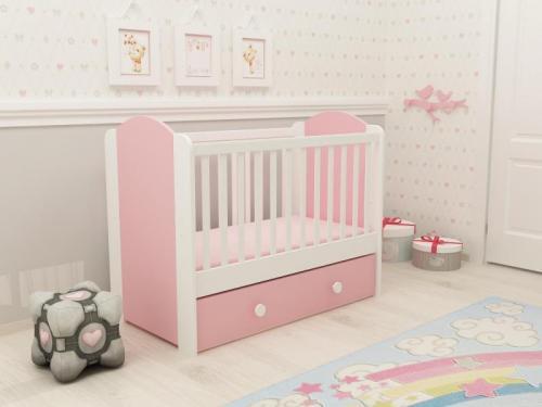 Patut cu sertar Happy cu leganare alb-roz D120 - Patuturi copii - Patut din lemn