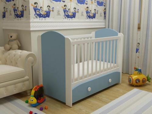 Patut cu sertar Miki alb-albastru 0121PE - Patuturi copii - Patut din lemn