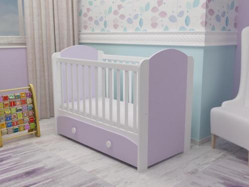 Patut cu sertar Miki alb-violet D121 - Patuturi copii - Patut din lemn