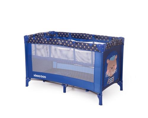 Patut pliabil cu 2 nivele KikkaBoo Pyjama Party Dark Blue Bear - Patuturi copii - Patut pliabil