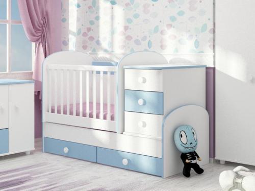 Patut transformabil Georgiana 3 cu leganare alb-albastru 0121PE - Patuturi copii - Patut din lemn