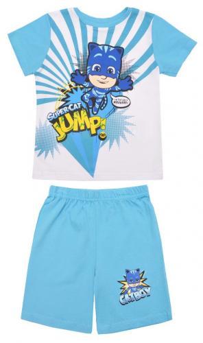 Pijama cu maneca scurta si imprimeu Pj Masks - Blue - Imbracaminte copii - Pijamale copilasi