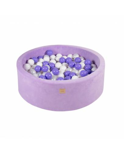 Piscina uscata 250 bile 7 cm MeowBaby Lavender 90x30 cm Catifea Lila - Camera copilului - Centru de activitati