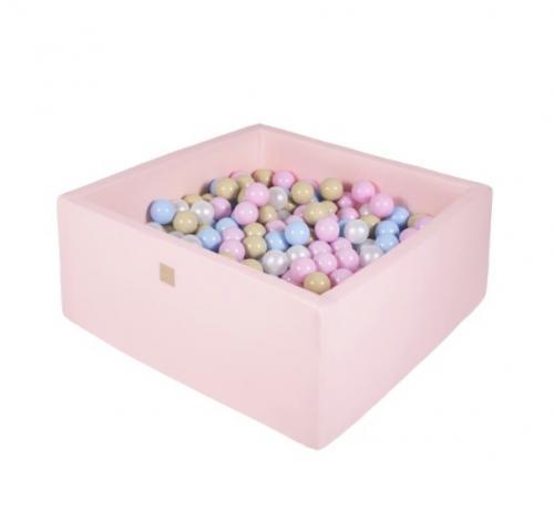 Piscina uscata 300 bile 7 cm MeowBaby Candy 90x90 cm Roz deschis - Camera copilului - Centru de activitati