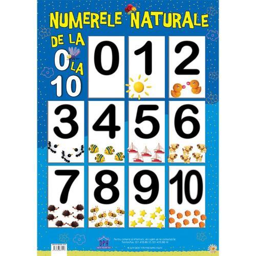 Plansa Editura DPH - Numerele naturale de la 0 la 10 - Carti pentru copii -